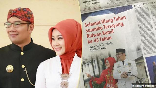 Ucapan Ulang Tahun Istri Ridwan Kamil Ini Anti Mainstream, So Sweet...