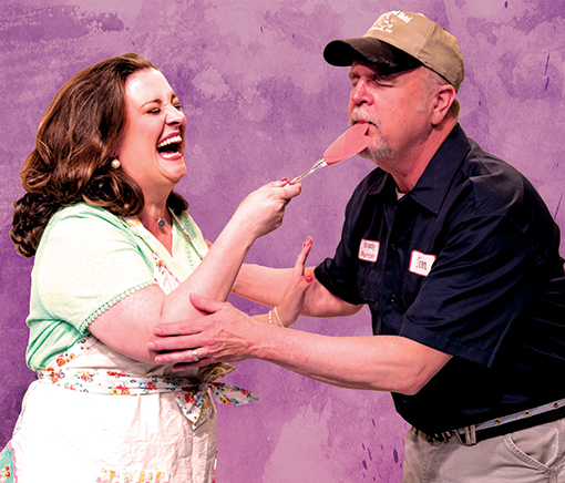 "Della (Marcie Millard) and Tim (Allan Edwards) in ""The Cake"" at Horizon Theatre Company"