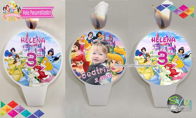 vela personalizada As Princesas  Disney dicas e ideias para decoração de festa personalizados