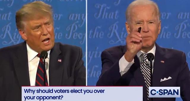 Joe Biden Donald Trump first presidential debate 2020 pen yelling cross-talk voters elect you