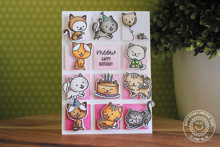 Sunny Studio Stamps Purrfect Birthday Grid Design Happy Card By Eloise Blue