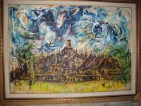 "Pelukis: Affandi Tahun: 1983 Judul : "" Borobudur Pagi Hari "" Ukuran : 150cm X 200cm Media : Oil on Canvas"