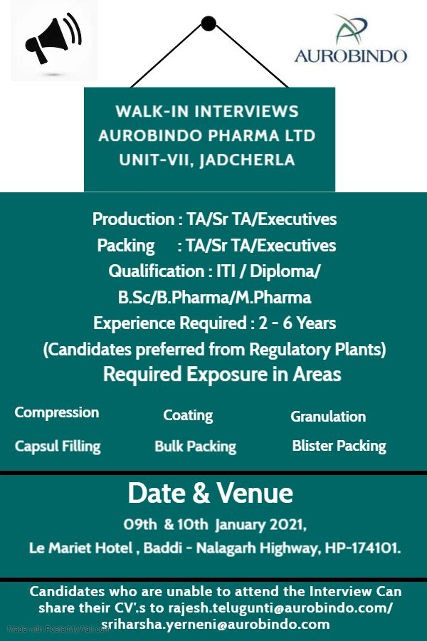 Aurobindo Pharma | Walk-in interview at Baddi on 9th & 10th January 2021