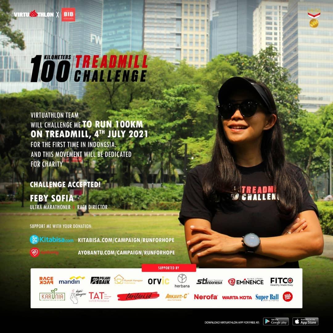 Feby Sofia ��♀� 100K Treadmill Challenge - Run For Hope • 2021