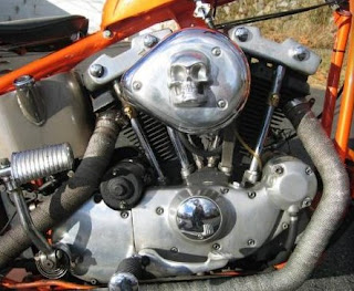 sportster ironhead chopper 1979 orange and red flame