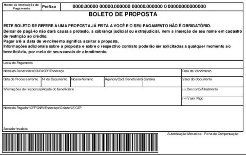 Boleto de Proposta - modelo Banco do Brasil