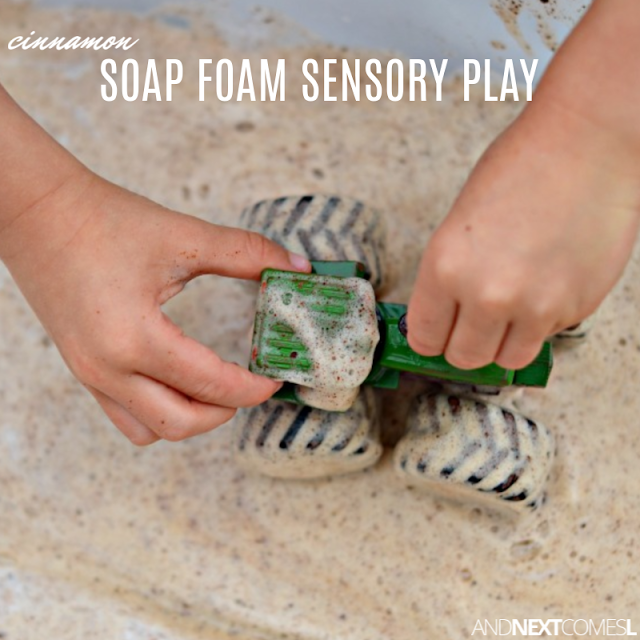A fun cinnamon scented twist on how to make soap foam for toddlers
