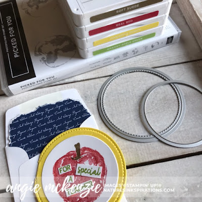 Supplies used by Angie McKenzie for JOSTTT008 Design Team Inspirations; Click READ or VISIT to go to my blog for details! Featuring the retired Picked for You Stamp Set, Layering Circles Dies, Stitched Shapes Dies; #apples #pickedforyoustampset #envelopedesigns #stationerybyangie #teachercards #circlecards #makingotherssmileonecreationatatime #cardtechniques #stampinup #handmadecards