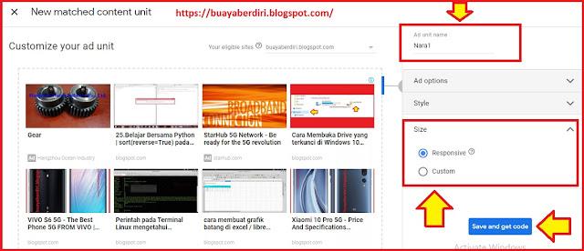 Cara memasang iklan matched content di blog
