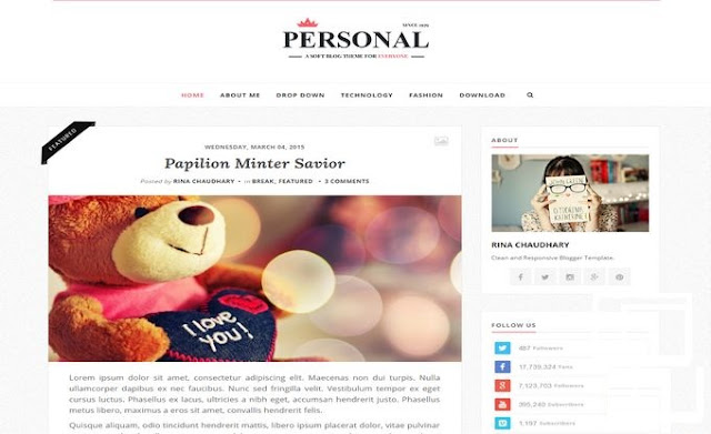 Personal Responsive Blogger Template Free Download