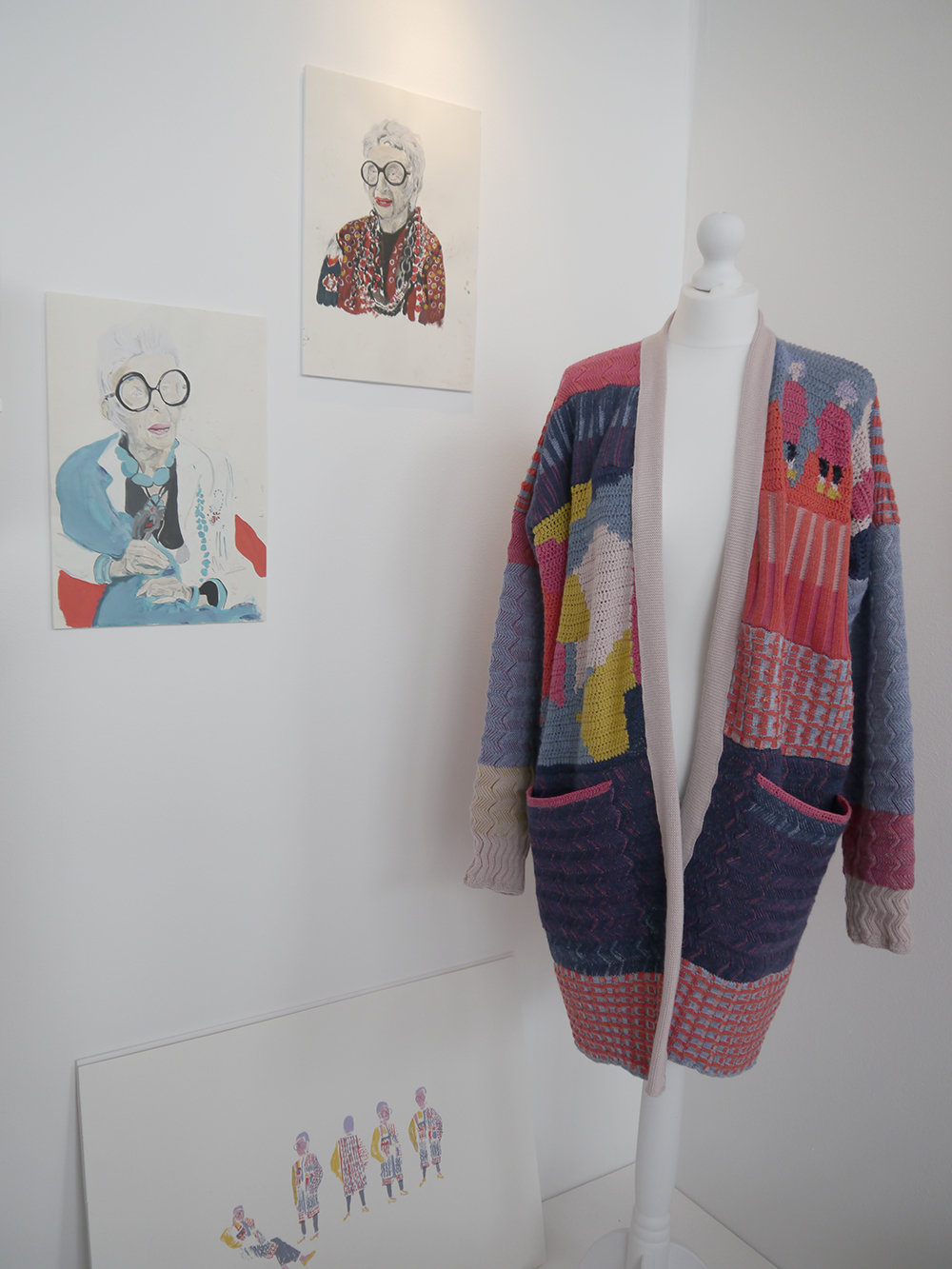 Degree Show, Art School, Dundee Degree show, art exhibition, DJCAD Degree Show 2017, Duncan of Jordanstone College of Art and Design, knitwear, knitted cardigain, Iris Apfel, Isla Rustrick, Textile Design