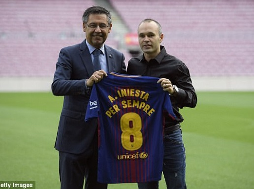 Football legend Andres Iniesta signs lifetime contract with Barcelona