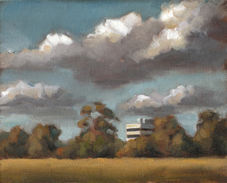 Landscape oil painting of cumulus clouds above trees and a building on the horizon.