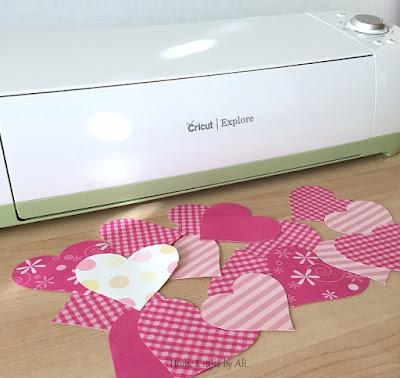 scrapbook paper valentine heart tree cricut explore heart
