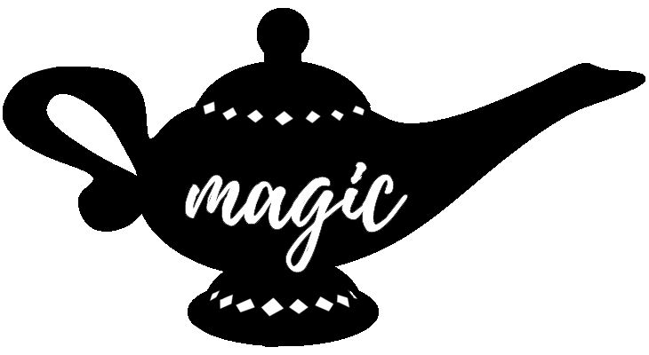 "Silhouette of the magic lamp with script word ""magic"" jpeg file for making a shirt using Cricut Design space and the Cricut maker."