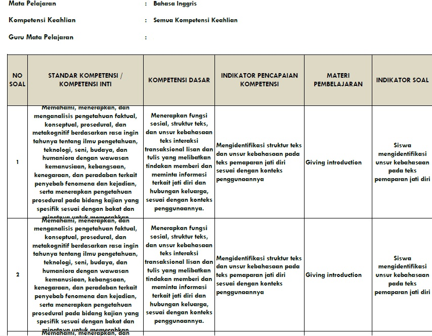 Kisi Kisi UNBK Bahasa Inggris ( Soal dan Jawaban UTS Kelas ...