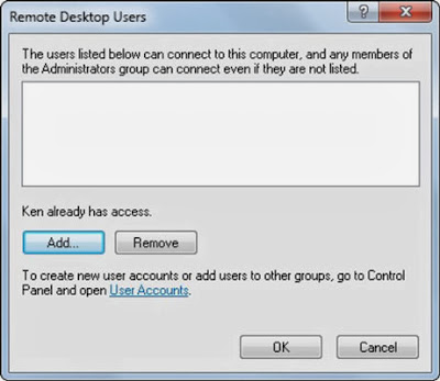 Dialog Box-Remote Desktop Users