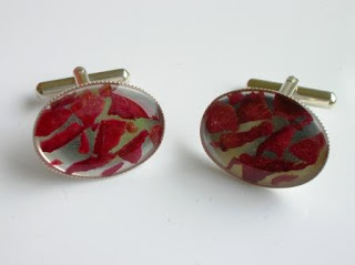 Sterling silver cufflinks containing petal fragments