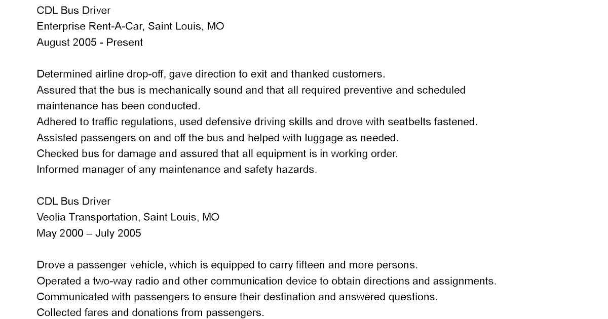 Driver Resumes Cdl Bus Driver Resume Sample