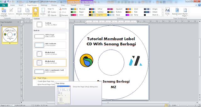 membuat ukuran label cd dengan microsoft publisher