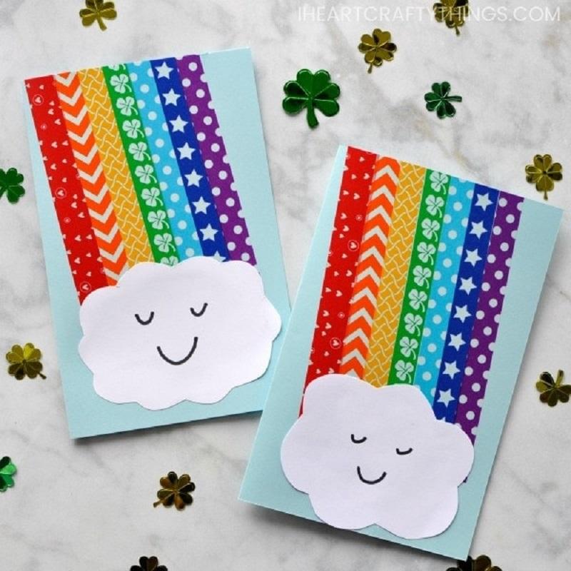 washi tape rainbow cards