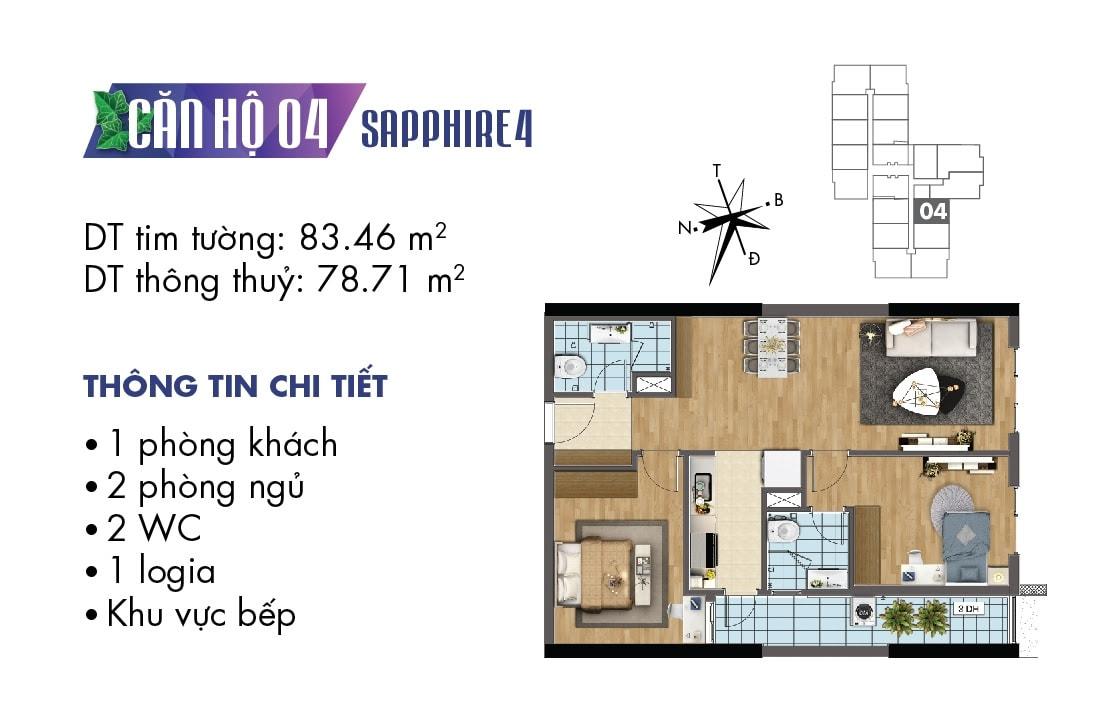 Mặt bằng căn hộ 04 tòa Sapphire 4