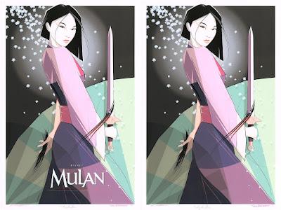 The D23 Expo Exclusive Mulan Pink Magnolia Variant Screen Prints by Craig Drake x Cyclops Print Works x Disney