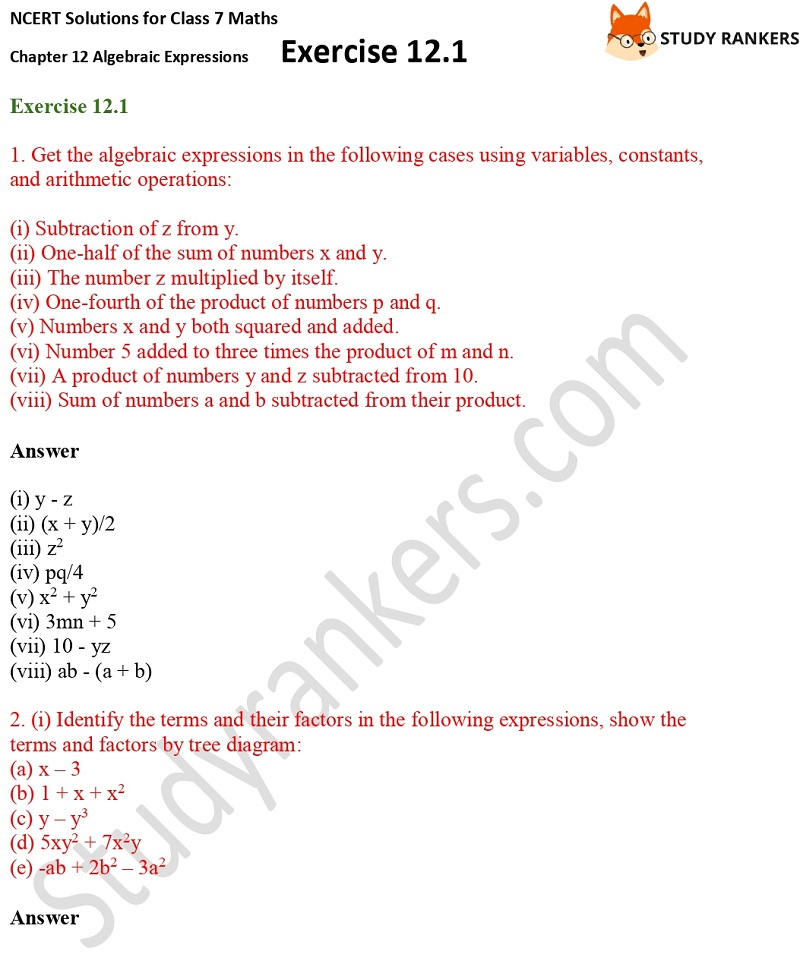 NCERT Solutions for Class 7 Maths Ch 12 Algebraic Expressions Exercise 12.1 1