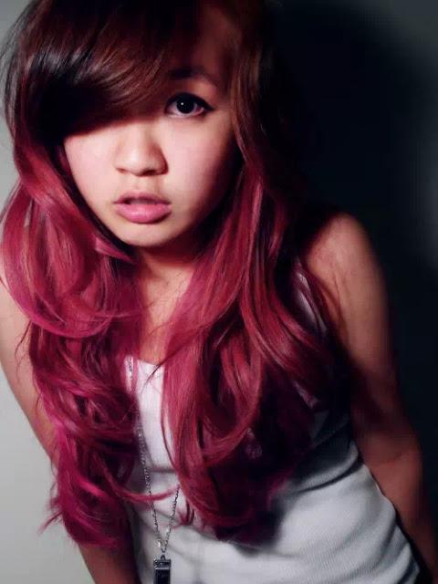 Asian dark burgandy ombre hair