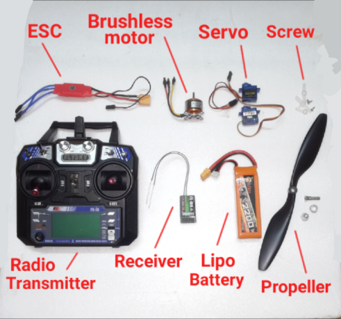 Picture of Electronic Parts of Rc Plane
