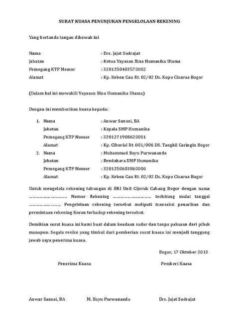 Contoh Surat Kuasa Bank (via: bergaya.id)
