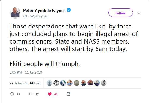 Governor Ayodele Fayose Being Blasted On Twitter