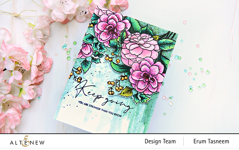 Altenew Paint-A-Flower: Camellia Outline Stamp Set + Artist Markers + Artists' Watercolors | Erum Tasneem | @pr0digy0
