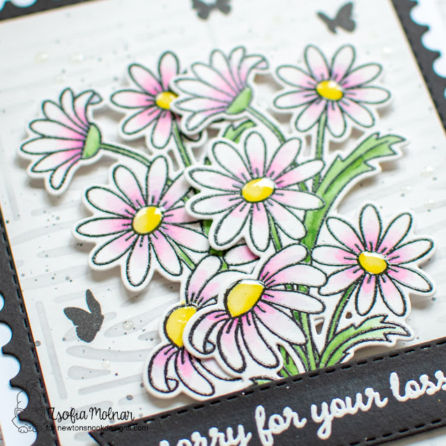 Sweet Floral Sympathy Card by Zsofia Molnar | Dainty Daises Stamp Se, Heartfelt Essentials Stamp Set, Hardwood Stencil, Framework and Banner Trio Die Sets by Newton's Nook Designs #newtonsnook #handmade