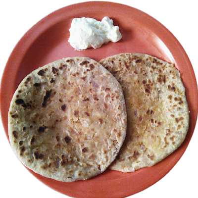 paneer parath with butter on it for morning breakfast.