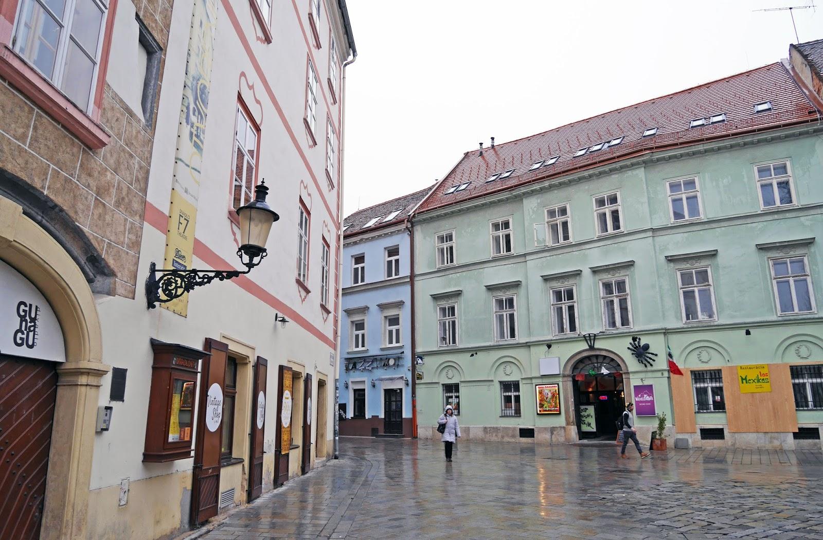 Quiet Bratislava Old Town in Winter