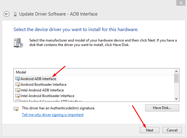 Instal ADB interface Driver USB
