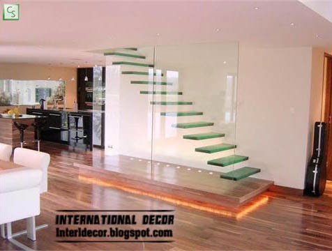 glass staircase, modern staircase design - interior stairs