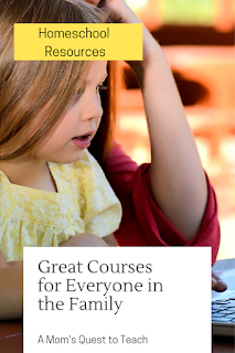 text: Homeschool Resources; Great Courses for Everyone in the Family; A Mom's Quest to Teach; background image of child and mom looking at computer