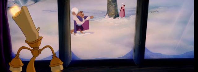 La belle & la bête : bataille de boules de neige
