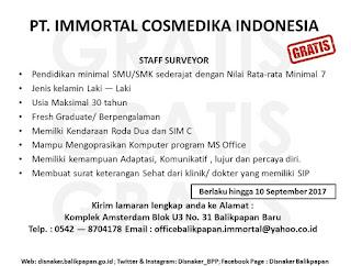 Lowongan Kerja PT. Immortal Cosmedika Indonesia