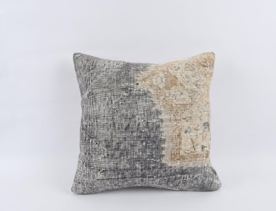blue cream Turkish pillow