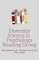 """Image of a Stack of Books with the words """"Diversity Science in Psychology Reading Group"""""""