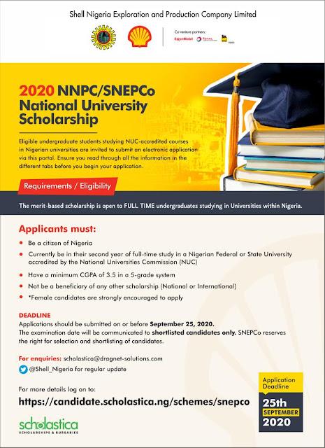 NNPC/Snepco Scholarship 2020