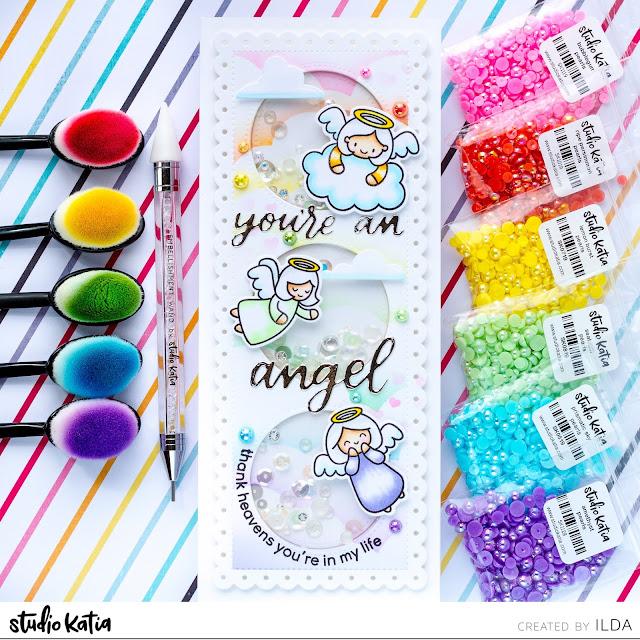 Heffy Doodle, Studio Katia, Blog Hop, Angel, Slimline, Shaker Card, Pearls, Rainbow, Card Making, Stamping, Die Cutting, handmade card, ilovedoingallthingscrafty, Stamps, how to, Atelier Inks, Ink Blending,