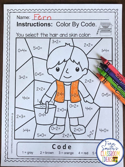 Color By Number Addition For Math Remediation Sums to 5 Jack & Jill Up the Hill
