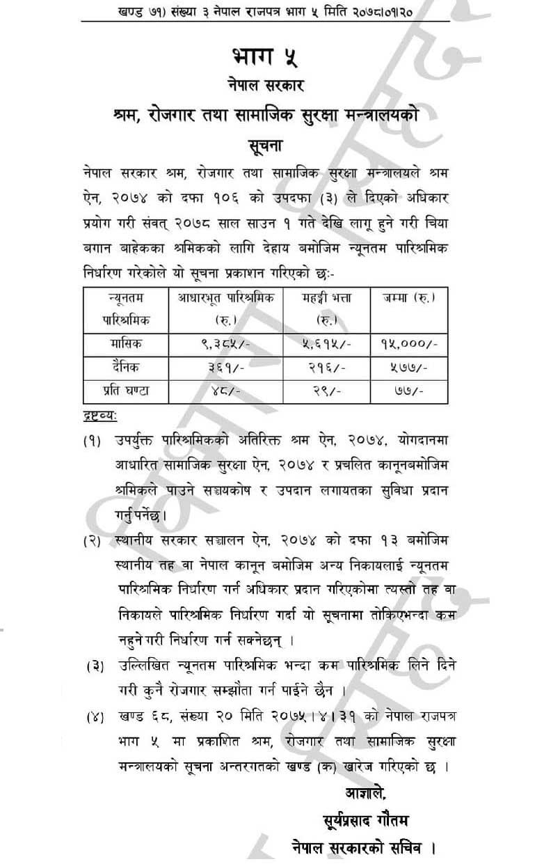 Minimum Wages Rate Rs. 15000 Effective from July 16 in Nepal