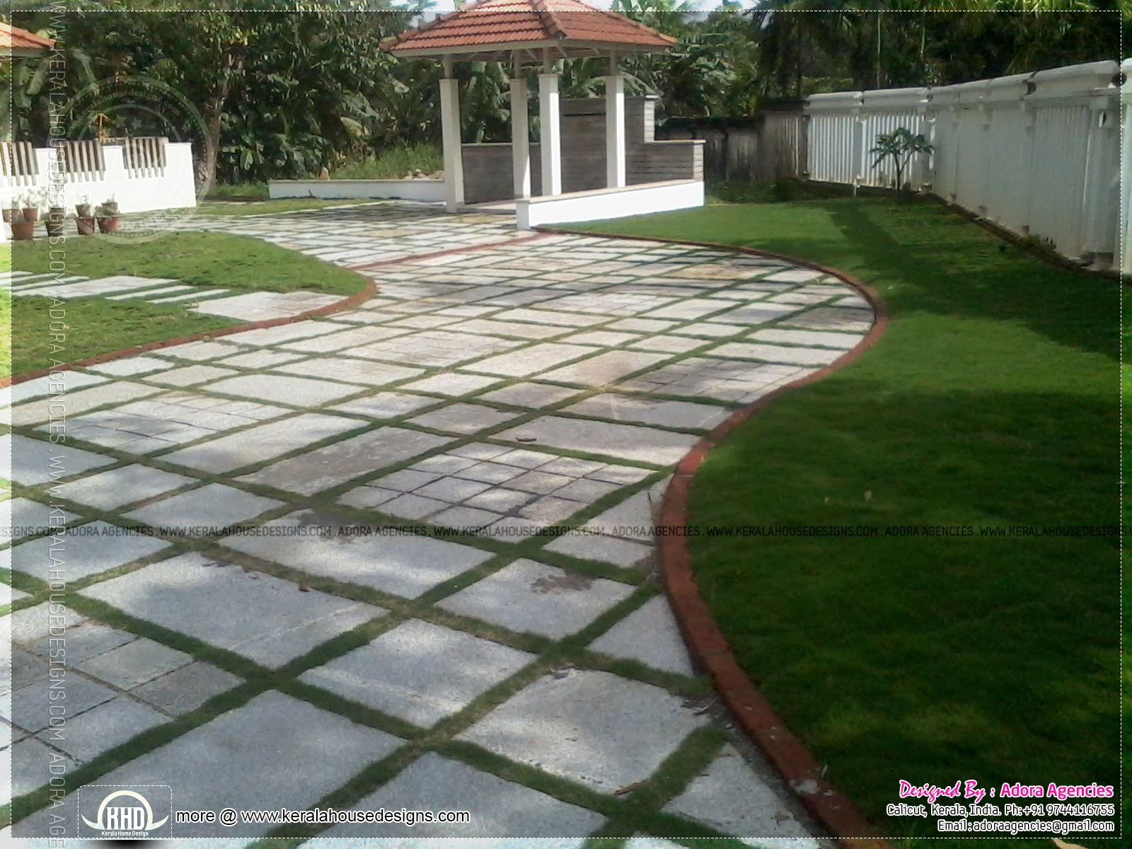 Exterior stone cladding kerala home design and floor plans for House garden design india