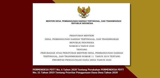 PERMENDESA PDTT Nomor 6 Tahun 2020 Tentang Perubahan PERMENDESA PDTT Nomor 11 Tahun 2019 Tentang Prioritas Penggunaan Dana Desa Tahun 2020