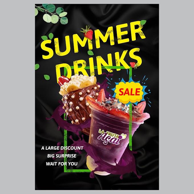 summer drinks minimalist poster free psd template